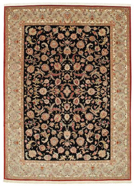 Tabriz 70 Raj Chaîne De Soie Tapis 248X344 D'orient Fait Main Marron Clair/Marron (Laine/Soie, Perse/Iran)