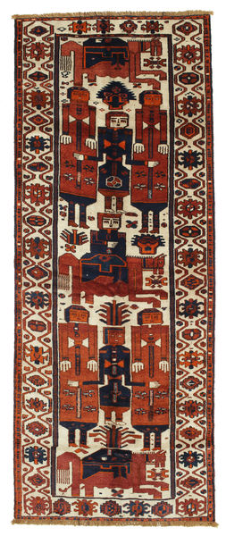 Lori Rug 145X370 Authentic  Oriental Handknotted Hallway Runner  Dark Red/Dark Brown (Wool, Persia/Iran)