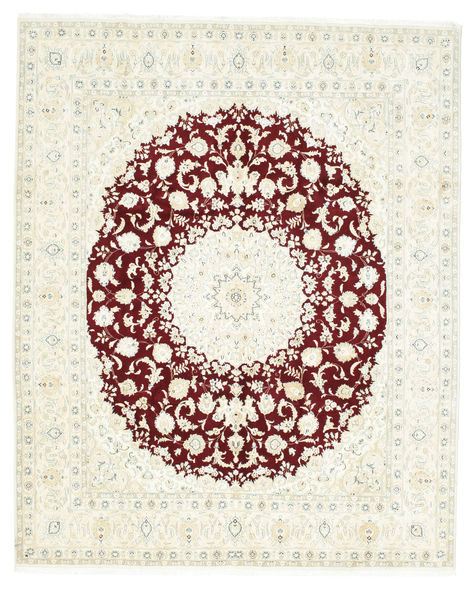 Nain 9La Rug 250X308 Authentic  Oriental Handknotted Beige/White/Creme Large (Wool/Silk, Persia/Iran)