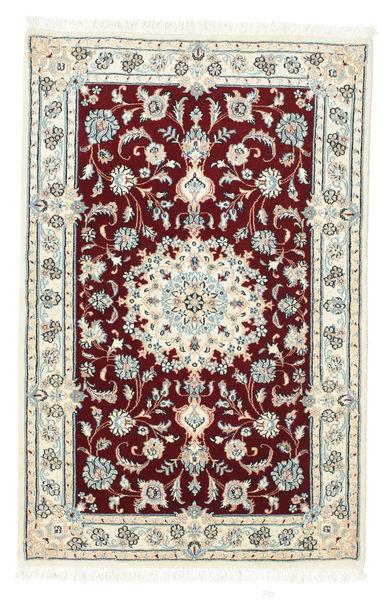 Nain 9La Alfombra 88X136 Oriental Hecha A Mano Blanco/Crema/Rojo Oscuro/Beige (Lana/Seda, Persia/Irán)