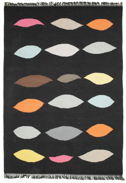 Leaves - Black Rug 140X200 Authentic  Modern Handwoven Black (Wool, India)