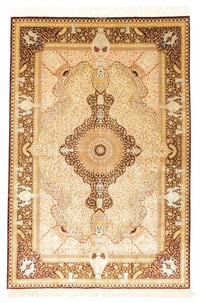 Ghom Zijde Getekend: Jamshidi Tapijt 128X192 Echt Oosters Handgeknoopt Beige/Lichtbruin (Zijde, Perzië/Iran)