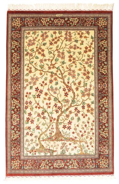 Ghom Silke Signerad: Ghom Motevasel Matta 100X155 Äkta Orientalisk Handknuten Beige/Brun/Ljusbrun (Silke, Persien/Iran)