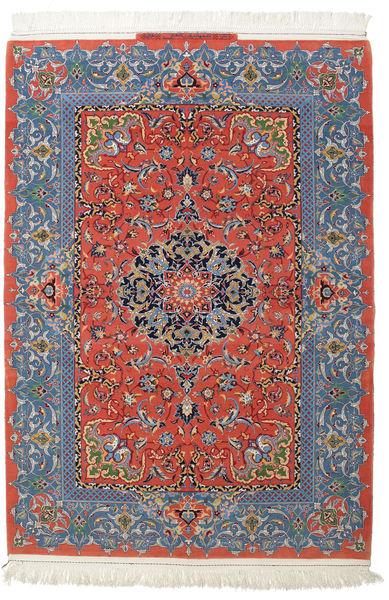 イスファハン 絹の縦糸 署名: Haghighi 絨毯 150X220 オリエンタル 手織り 濃いグレー/深紅色の (ウール/絹, ペルシャ/イラン)
