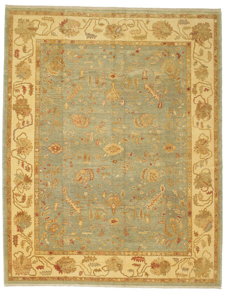 Oushak Rug 290X362 Authentic  Oriental Handknotted Light Brown/Yellow/Light Green Large (Wool, Turkey)