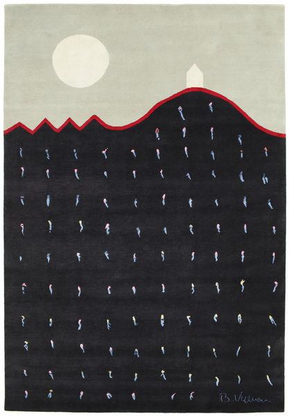 Landing 絨毯 195X280 モダン 手織り 紺色の/薄い灰色 (ウール, インド)