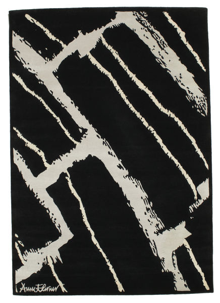 Power Rug 135X190 Authentic  Modern Handknotted Black/Light Grey (Wool, India)