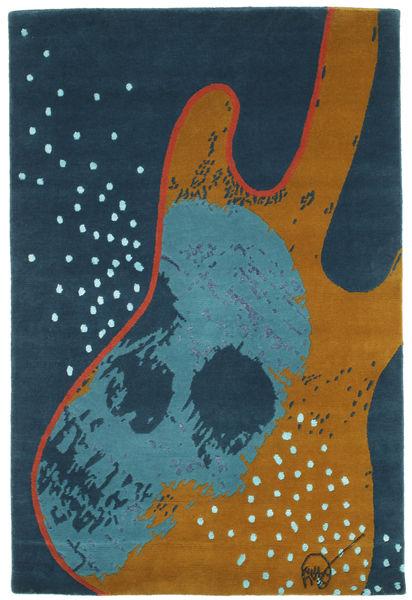 From Obscure Rythms Vloerkleed 100X140 Echt Modern Handgeknoopt Donkerblauw/Bruin (Wol, India)