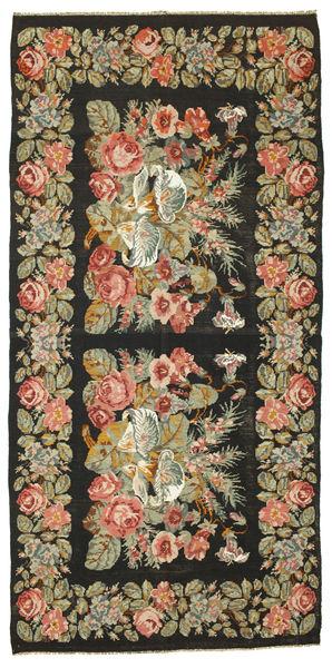 薔薇 キリム 絨毯 200X410 オリエンタル 手織り 黒/濃いグレー (ウール, モルドバ)