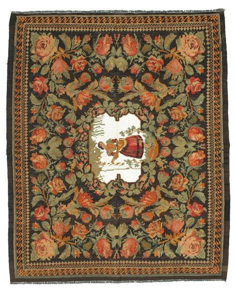 Rose Kelim Rug 188X228 Authentic  Oriental Handwoven Dark Grey/Brown (Wool, Moldova)
