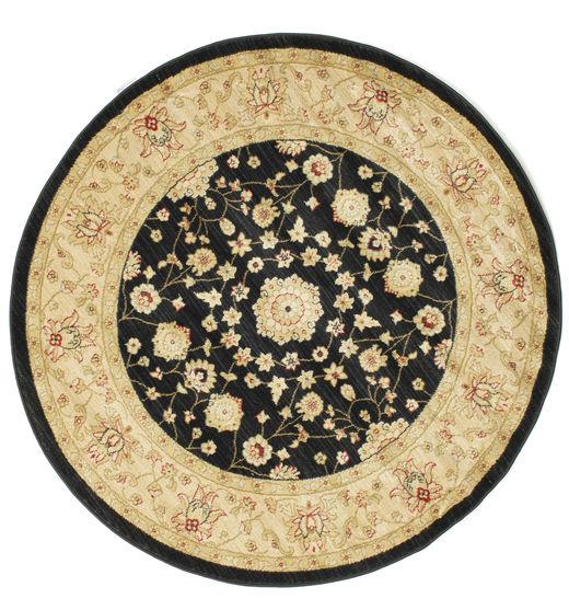 Farahan Ziegler - Black Rug Ø 150 Oriental Round Beige/Black ( Turkey)