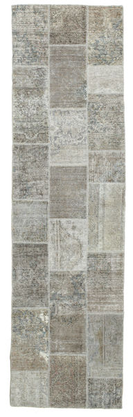 Patchwork Rug 82X301 Authentic  Modern Handknotted Hallway Runner  Light Grey/Dark Grey (Wool, Persia/Iran)