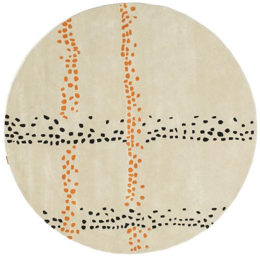 Delight Handtufted - Orange Tapis Ø 200 Moderne Rond Beige Foncé (Laine, Inde)