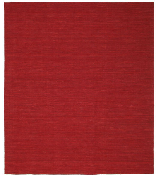 Kelim Loom - Dunkelrot Teppich  250X300 Echter Moderner Handgewebter Rot Großer (Wolle, Indien)