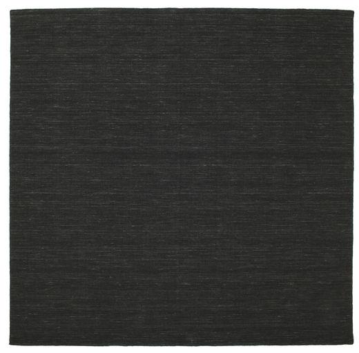 Kilim Loom - Black Rug 250X250 Authentic  Modern Handwoven Square Black Large (Wool, India)