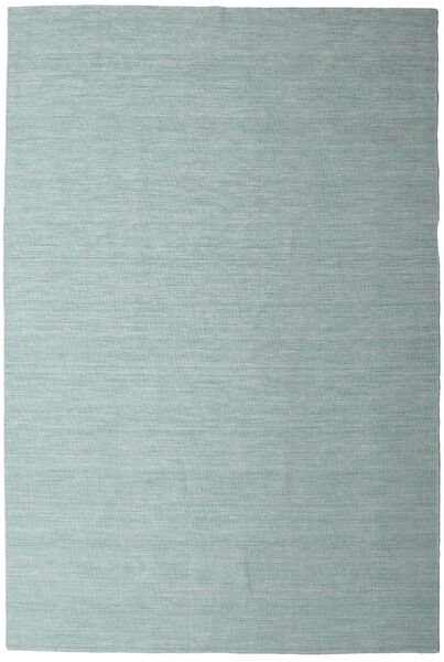 Kilim Loom - Mint Green Rug 200X300 Authentic  Modern Handwoven White/Creme/Turquoise Blue (Wool, India)