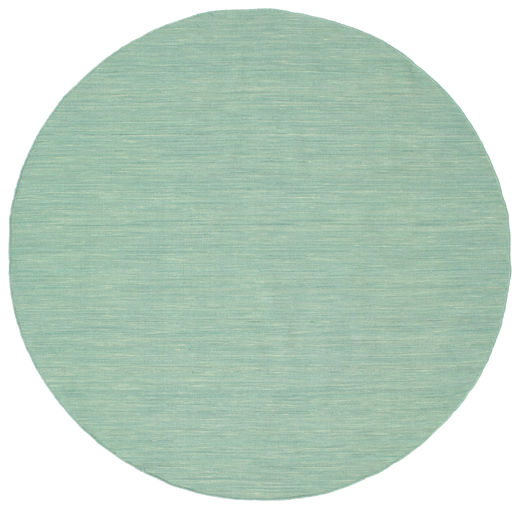 Kilim Loom - Mint Green Rug Ø 200 Authentic  Modern Handwoven Round Light Grey/Turquoise Blue/White/Creme (Wool, India)