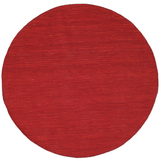 Kilim Loom - Dark Red Rug Ø 150 Authentic  Modern Handwoven Round Crimson Red/Rust Red (Wool, India)