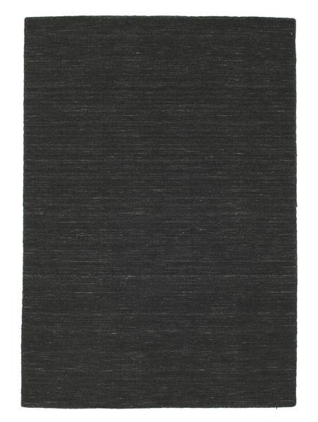Kilim Loom - Black Rug 140X200 Authentic  Modern Handwoven Dark Grey (Wool, India)