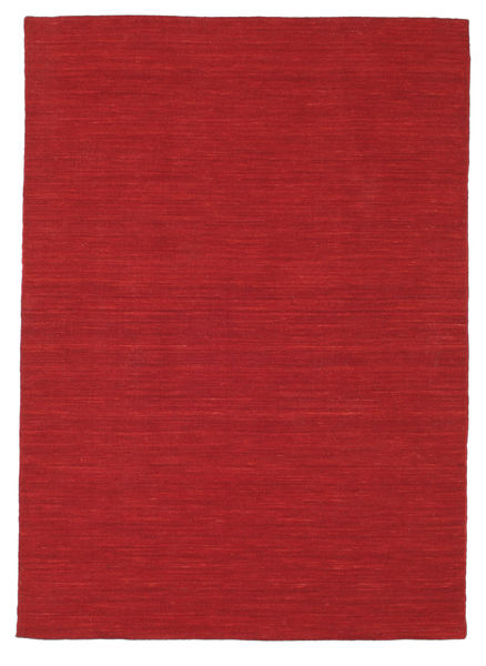 Kilim Loom - Dark Red Rug 140X200 Authentic  Modern Handwoven Crimson Red (Wool, India)