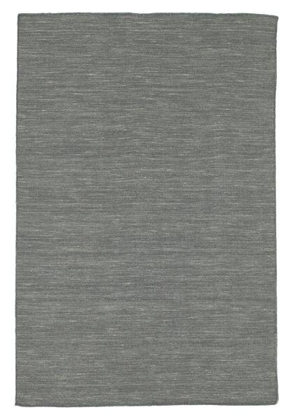 Kelim Loom - Dunkelgrau Teppich  120X180 Echter Moderner Handgewebter Dunkelgrau/Hellgrau (Wolle, Indien)