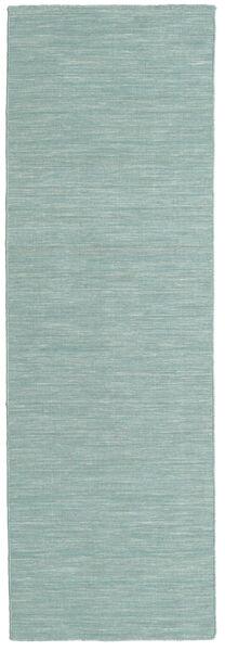 Kelim Loom - Mint Grön Matta 80X250 Äkta Modern Handvävd Hallmatta Turkosblå/Vit/Cremefärgad (Ull, Indien)