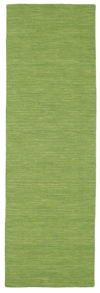 Kilim Loom - Green Rug 80X250 Authentic  Modern Handwoven Hallway Runner  Olive Green (Wool, India)