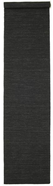 Kilim Loom - Black Rug 80X400 Authentic  Modern Handwoven Hallway Runner  Black (Wool, India)