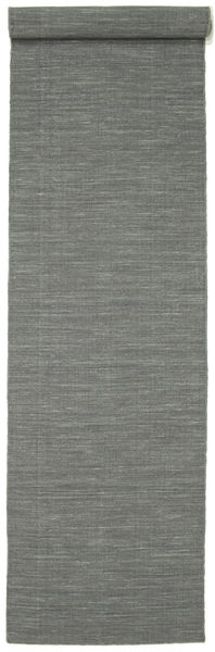 Kilim Loom - Dark Grey Rug 80X400 Authentic  Modern Handwoven Hallway Runner  Light Grey/Dark Green (Wool, India)