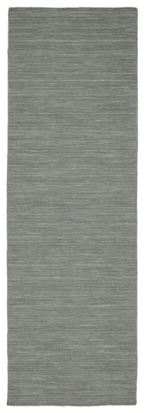 Kilim Loom - Dark Grey Rug 80X250 Authentic  Modern Handwoven Hallway Runner  Light Grey/Dark Green (Wool, India)