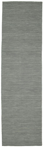 Kilim Loom - Dark Grey Rug 80X300 Authentic  Modern Handwoven Hallway Runner  Light Grey/Dark Grey (Wool, India)