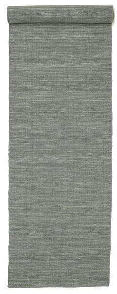 Kilim Loom - Ciemnoszary Dywan 80X500 Nowoczesny Tkany Ręcznie Chodnik Jasnoszary/Ciemnoszary (Wełna, Indie)
