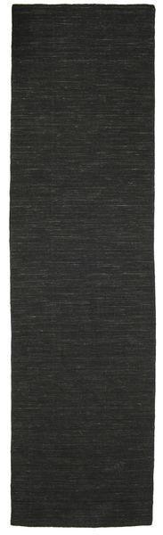 Kilim Loom - Nero Tappeto 80X300 Moderno Tessuto A Mano Alfombra Pasillo Nero (Lana, India)