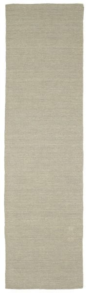 Kilim Loom - Light Grey/Beige Rug 80X300 Authentic  Modern Handwoven Hallway Runner  Light Grey/White/Creme (Wool, India)