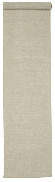 Kilim Loom - Light Grey/Beige Rug 80X400 Authentic  Modern Handwoven Hallway Runner  Light Grey (Wool, India)