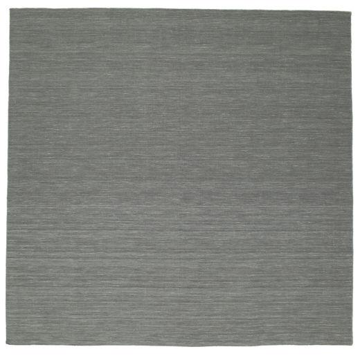 Kelim Loom - Tummanharmaa Matto 300X300 Moderni Käsinkudottu Neliö Tummanharmaa/Vaaleanharmaa Isot (Villa, Intia)