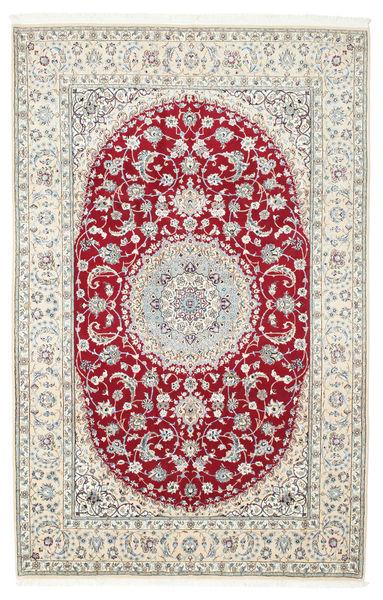 Nain 9La Matta 202X315 Äkta Orientalisk Handknuten Ljusgrå/Mörkröd (Ull/Silke, Persien/Iran)