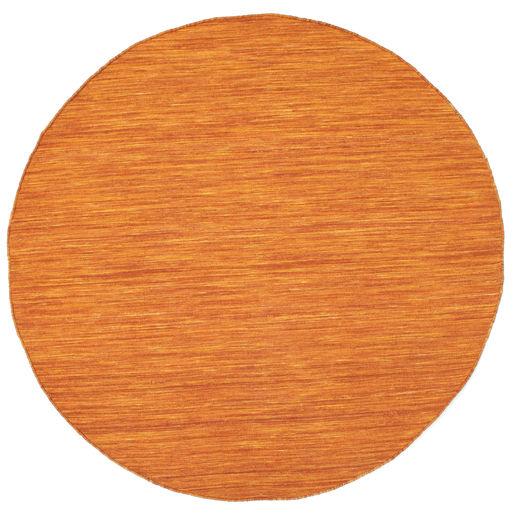 Kilim Loom - Pomarańczowy Dywan Ø 150 Nowoczesny Tkany Ręcznie Okrągły Pomarańczowy/Brązowy (Wełna, Indie)