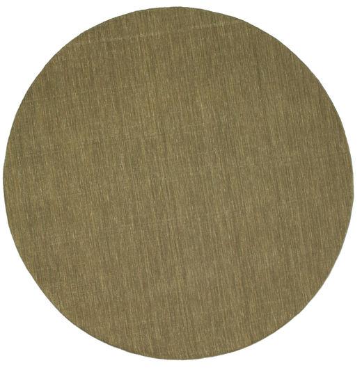 Kelim Loom - Oliven Teppe Ø 250 Ekte Moderne Håndvevd Rundt Olivengrønn Stort (Ull, India)