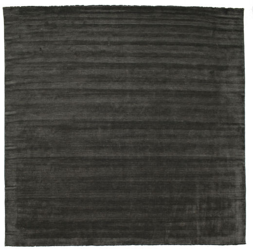 Handloom Fringes - Black/Grey Rug 400X400 Modern Square Dark Grey Large (Wool, India)