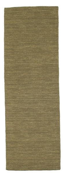Kilim Loom - Olive Tapis 80X250 Moderne Tissé À La Main Tapis Couloir Vert Olive (Laine, Inde)