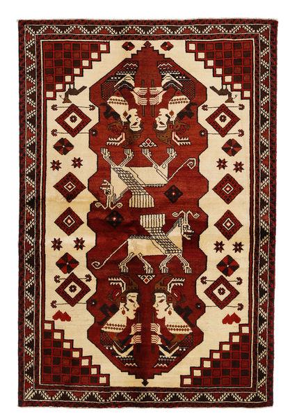 Lori Matta 146X214 Äkta Orientalisk Handknuten Mörkbrun/Mörkröd (Ull, Persien/Iran)