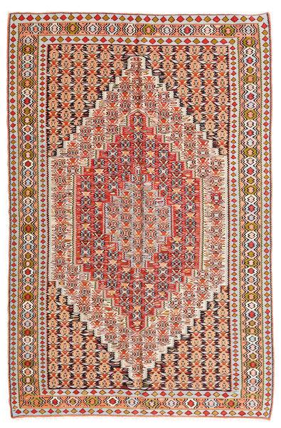 Kelim Senneh Matto 155X246 Itämainen Käsinkudottu Vaaleanruskea/Valkoinen/Creme (Villa, Persia/Iran)