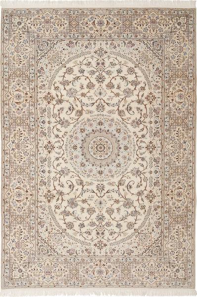 Nain 6La Habibian Alfombra 205X303 Oriental Hecha A Mano Gris Claro/Beige (Lana/Seda, Persia/Irán)