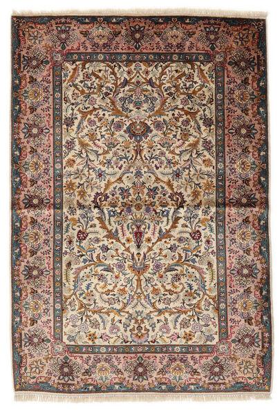 Keshan Zijde Tapijt 100X153 Echt Oosters Handgeknoopt Lichtbruin/Beige (Zijde, Perzië/Iran)