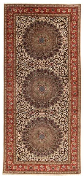 Tabriz 60 Raj Selyemfonal Szőnyeg 200X450 Keleti Csomózású Világosbarna/Sötétpiros (Gyapjú/Selyem, Perzsia/Irán)
