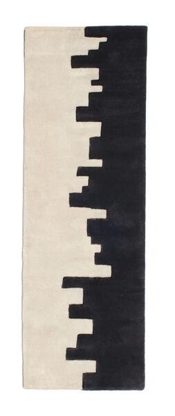 Little Town Handtufted Rug 80X250 Modern Hallway Runner  Dark Blue/Beige (Wool, India)