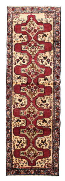 Senneh Rug 100X308 Authentic  Oriental Handknotted Hallway Runner  Dark Red/Brown (Wool, Persia/Iran)