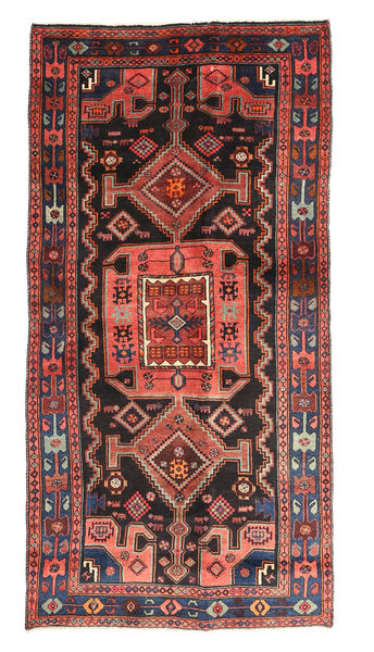 Kurdi Matta 124X243 Äkta Orientalisk Handknuten Mörkröd/Roströd (Ull, Persien/Iran)