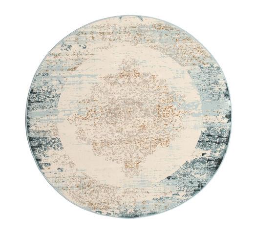Alaska - Light Blue/Cream Rug Ø 150 Modern Round Light Grey/Beige ( Turkey)